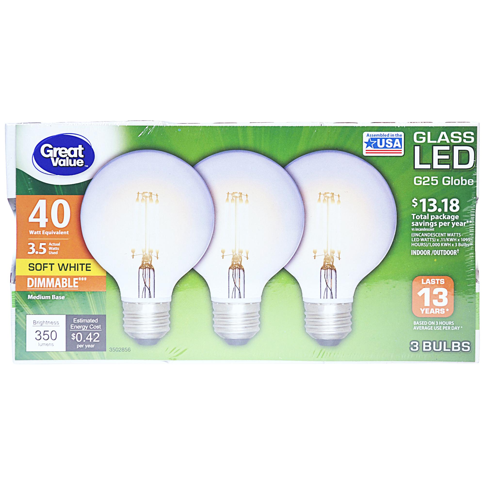 Great Value Glass LED G25 Globe Light, 3 Bulbs, 40 watt, Soft White