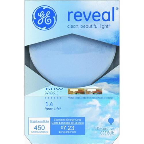 Ge Reveal G25 Globe Bulb Frosted 60w Med Base 6 Pack