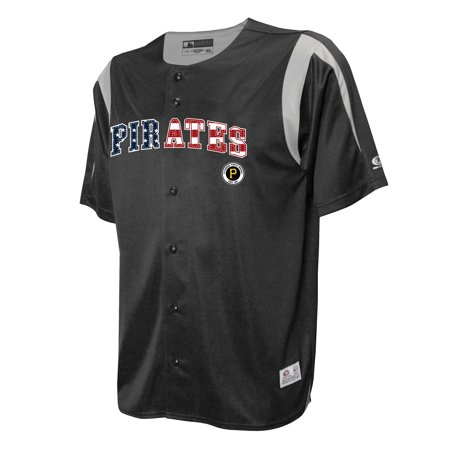 factory price 9e8bd 9be03 Pittsburgh Pirates Stitches Button-Down Jersey - Black