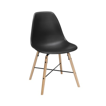 "OFM 161 Collection Mid Century Modern 18"" Plastic Molded Dining Chairs, Beechwood Legs with Wire Accent, 4 Pack, in Black (161-P18A-BLK-4)"