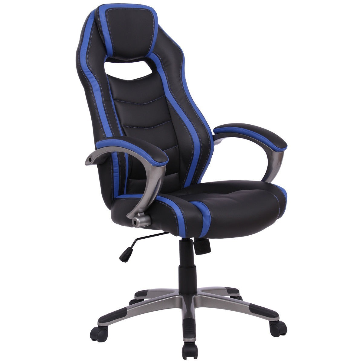 Racing Style High Back Bucket Seat Gaming Chair Blue