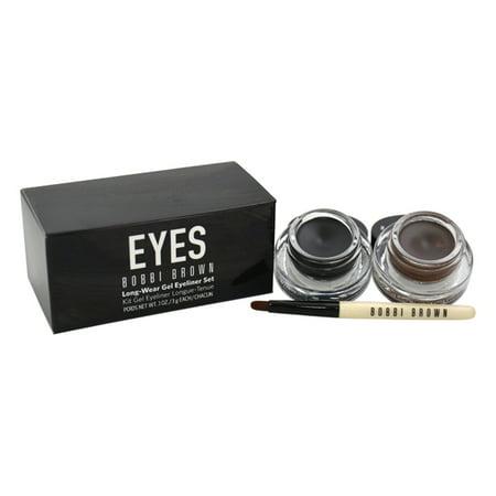 Long-Wear Gel Eyeliner Set by Bobbi Brown for Women - 3 Pc Set 0.1oz Long-Wear Gel Eyeliner - Black Ink , 0.1oz Long-Wear Gel Eyeliner - Sepia Ink, Ultra Fine Eyeliner (Best Makeup Brush For Gel Eyeliner)
