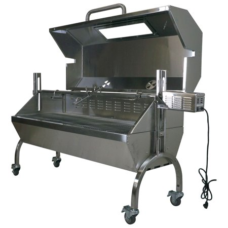 Rotisserie Grill Roaster Spit Glass Hood Stainless Steel 25W 125lb capacity (Cooker Grill)