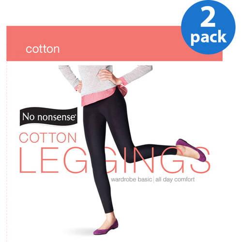 No nonsense Women's Basic Cotton Leggings, 2 Pair