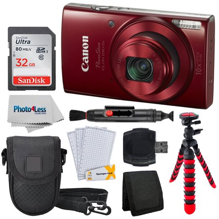 Canon PowerShot ELPH 190 Digital Camera w/ 10x Optical Zoom and Image Stabilization (Red) + 32GB Memory Card + 12'' Tripod + Camera Case + Lens Pen + Cleaning Cloth + Screen Protectors + Card Reader (Best Image Stabilization Camera 2019)