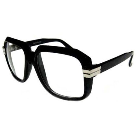 BLACK Old School Rapper Glasses Run Dmc Clear Lenses Fashion (Old Fashioned Sunglasses)