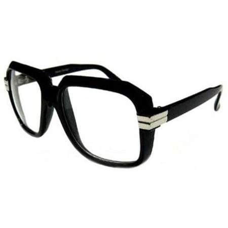 BLACK Old School Rapper Glasses Run Dmc Clear Lenses Fashion Sunglasses ()