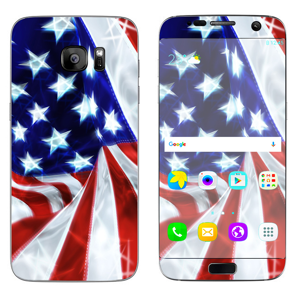 Skins Decals For Samsung Galaxy S7 Edge / Electric American Flag U.S.A.