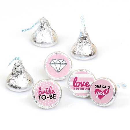 Bride-To-Be - Bridal Shower & Classy Bachelorette Party Round Candy Sticker Favors - Labels Fit Hersheys Kisses 108 Ct - Bachlorette Favors