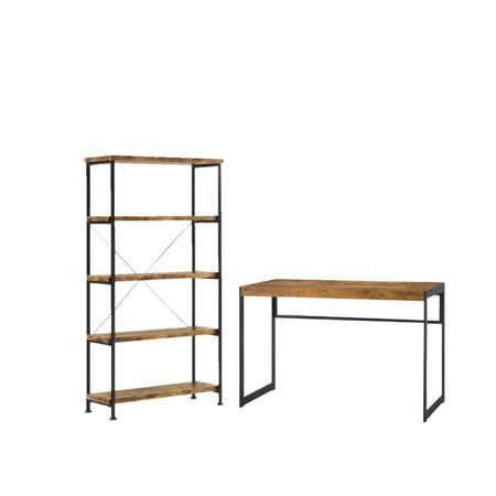 Bookcase Secretary Desk - 2 Piece Office Set with Bookcase and Desk in Wood