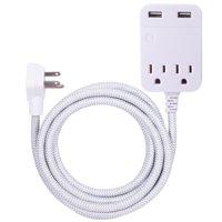 GE Pro Designer 2-Outlet 2-USB 10ft. Extension Cord, Surge Protector, 38432