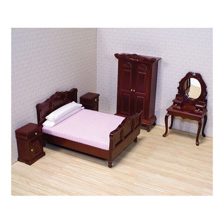 - Melissa & Doug Classic Victorian Wooden and Upholstered Dollhouse Bedroom Furniture (5 pcs)