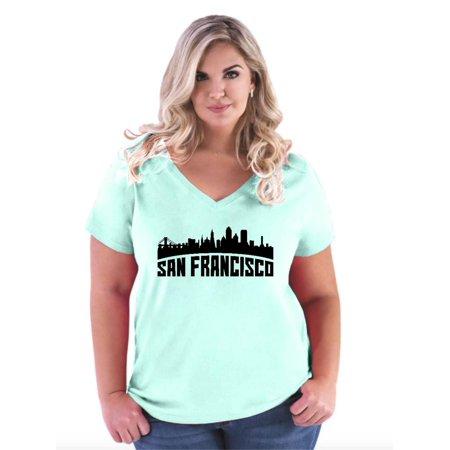 IWPF - San Francisco California Cali Women\'s Curvy Plus Size V-Neck Tee -  Walmart.com