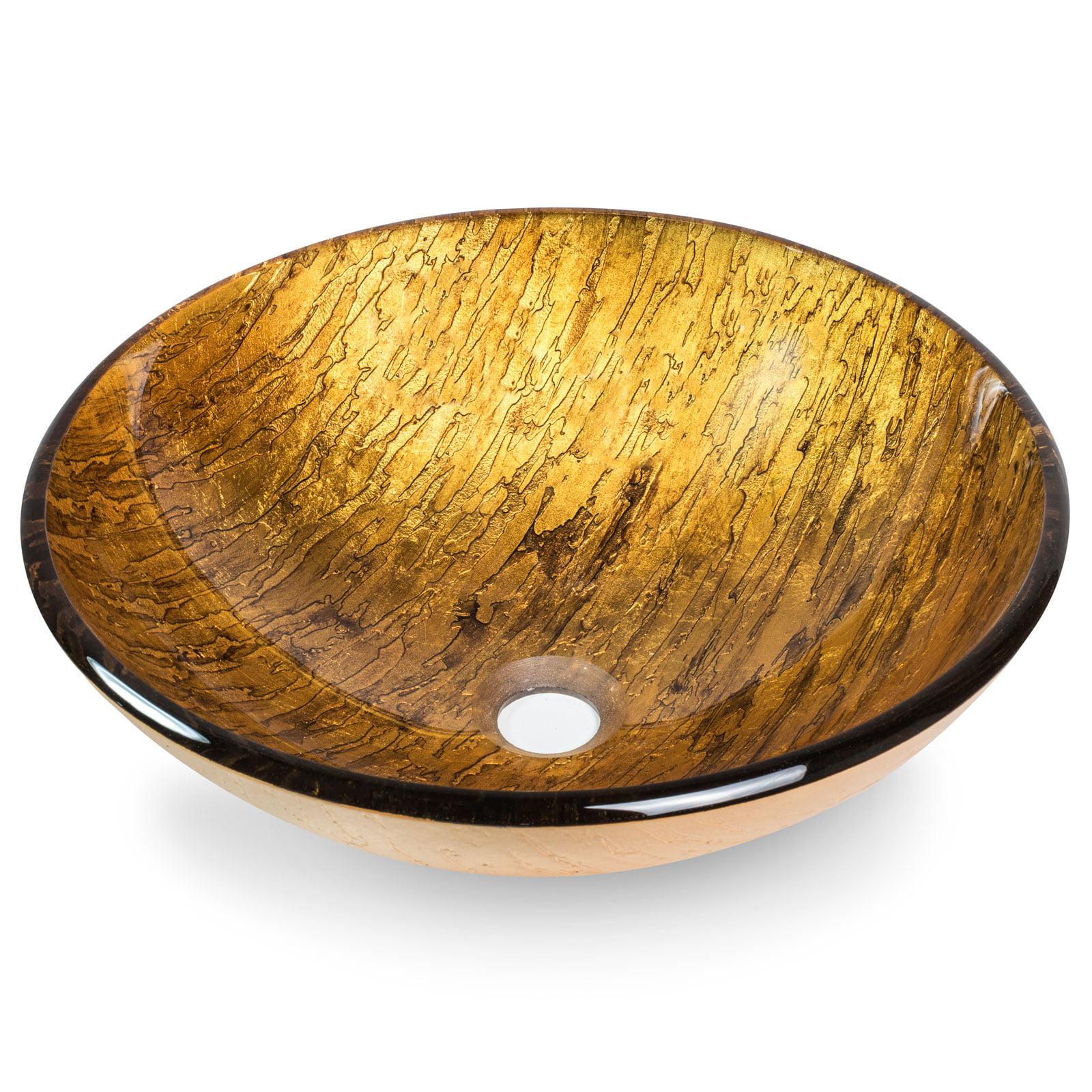 Miligor?? Modern Glass Vessel Sink - Above Counter Bathroom Vanity Basin Bowl - Round Gold