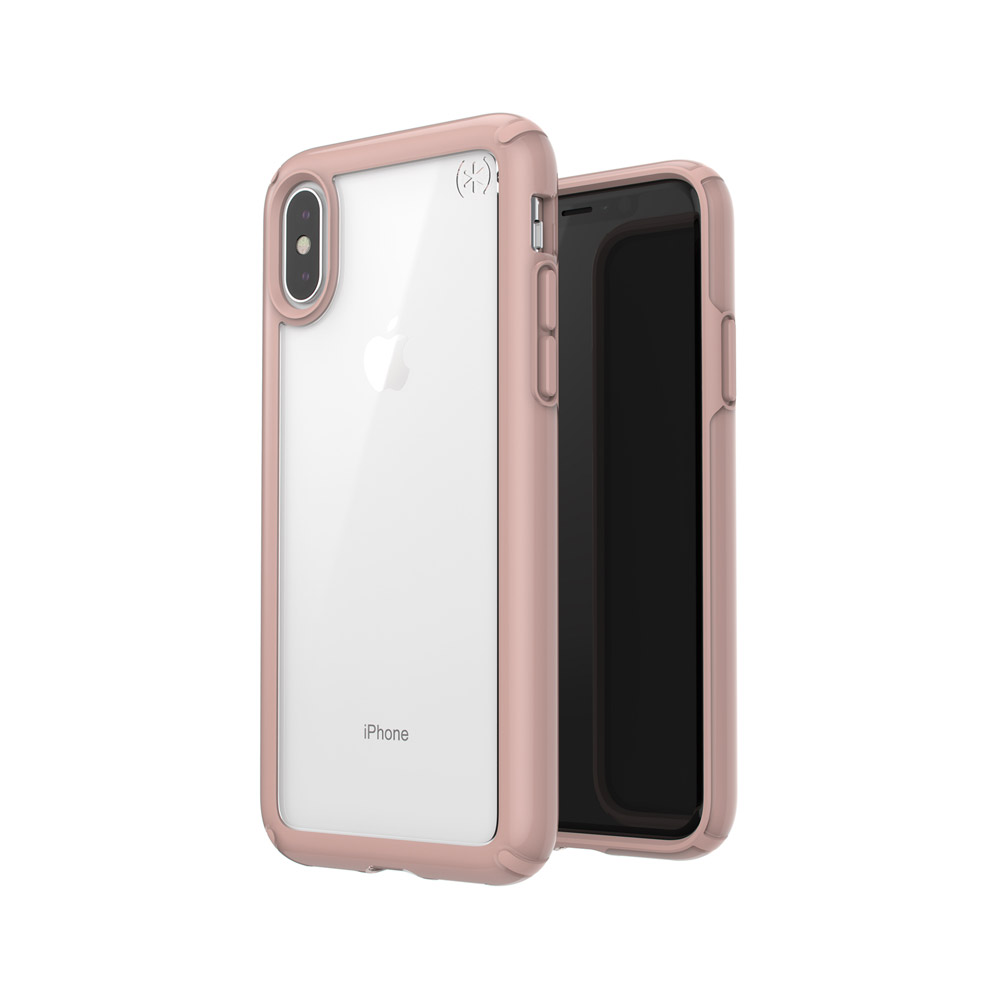 speck products presidio show iphone xs/iphone x case, clear/rose gold