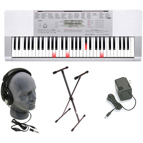 CASIO LK-280 Premium Lighted USB Keyboard Pack with Power Supply, Keyboard Stand and Closed-Cup Stereo Headphones