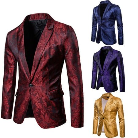 Mens Sequin Blazer (Stylish Men's Casual Slim Fit Formal One Button Suit Blazer Coat Jacket)