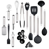 23-Piece Silicone Kitchen Utensil Set, Stainless Steel Kitchen Utensil Set with LFGB Approved Heat Resistant Silicone Heads - BPA Free Dishwasher Safe Cooking Tools Gadgets