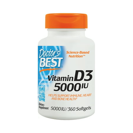 Doctor's Best Vitamin D3 5000IU, Non-GMO, Gluten Free, Soy Free, Regulates Immune Function, Supports Healthy Bones, 360
