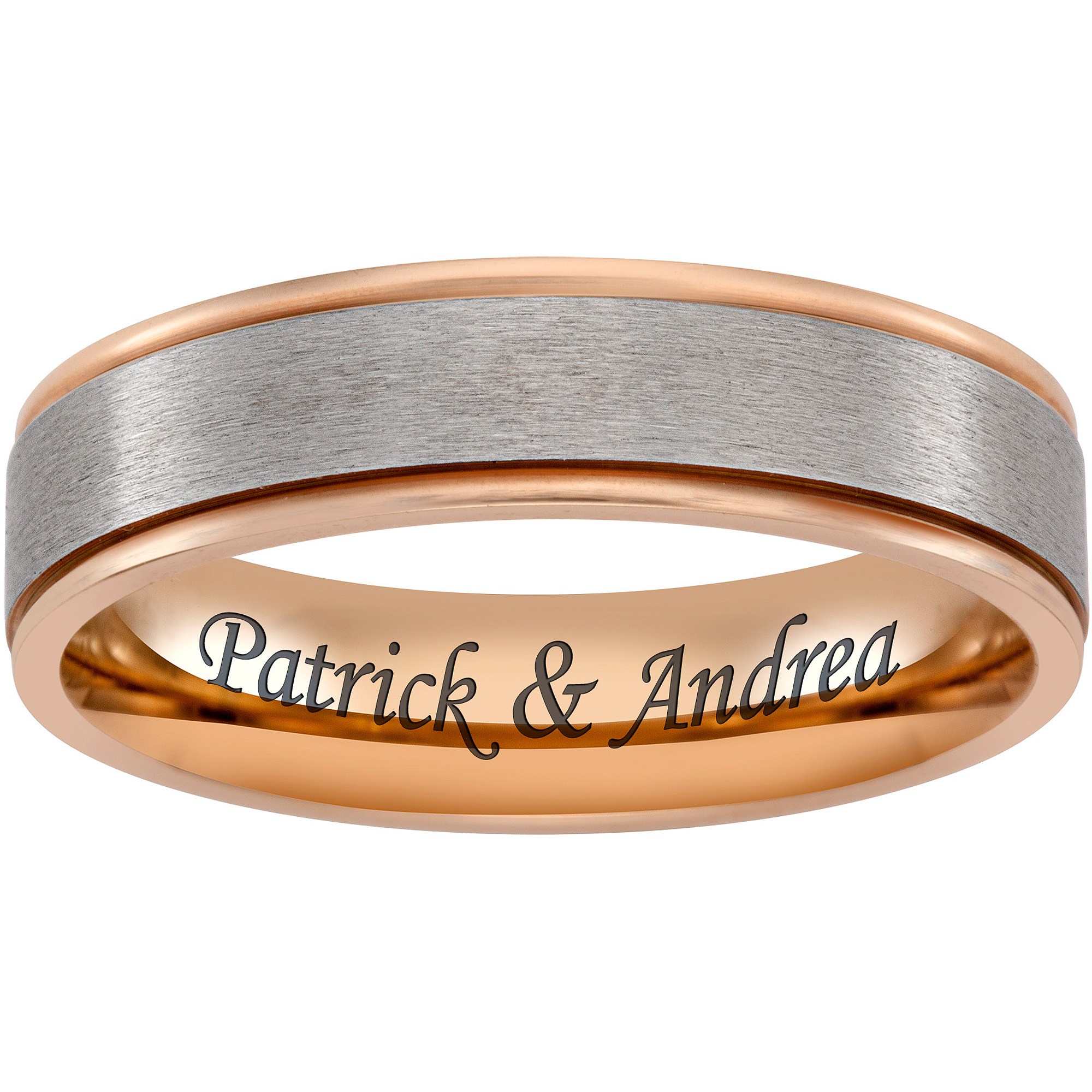 Personalized Men's Titanium Two-Tone Rose Gold Engraved Message Band