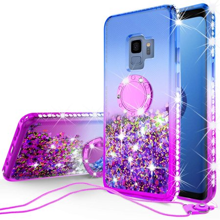 SOGA Rhinestone Glitter Bling Liquid Floating Cute Phone Case Compatible for Samsung Galaxy S9 Case with Embedded Metal Ring for Magnetic Car Mounts and Lanyard Diamond Bumper - Blue on -