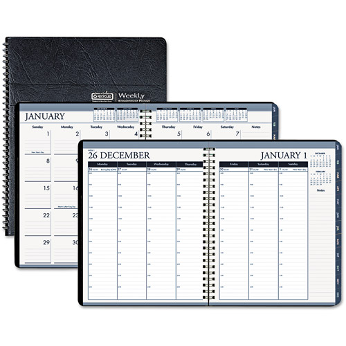 """House of Doolittle Wirebound Weekly/Monthly Planner, 8.5"""" x 11"""", Black Leatherette, 2014"""