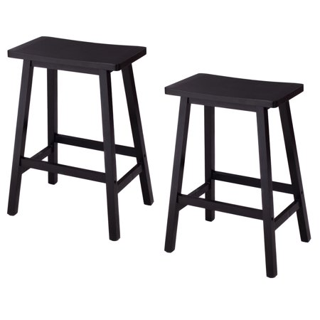 Costway Set of 2 Saddle Seat 24'' Bar Stools Wood Bistro Dining Kitchen Pub Chair Black](24 Chair)