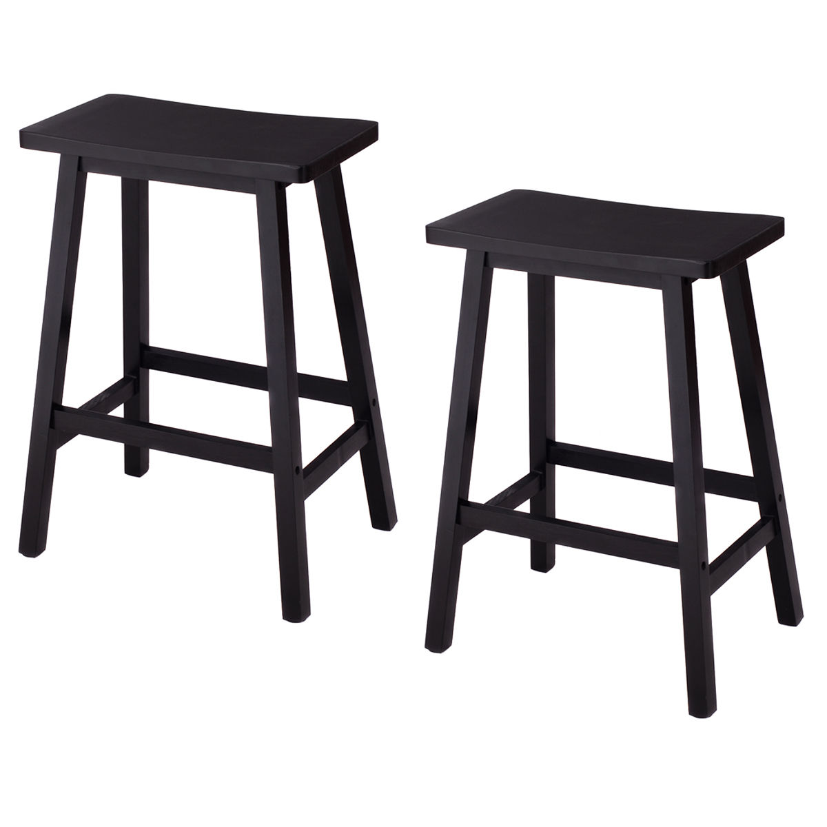 Costway Set of 2 Saddle Seat 24'' Bar Stools Wood Bistro Dining Kitchen Pub Chair Black