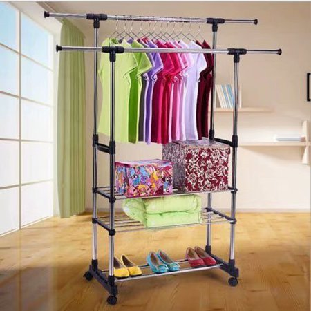 Vertical Rack System - Clearance!Dual Bars Horizontal & Vertical Telescope Style 3 Tiers Stainless Steel Clothing Garment Shoe Rack B