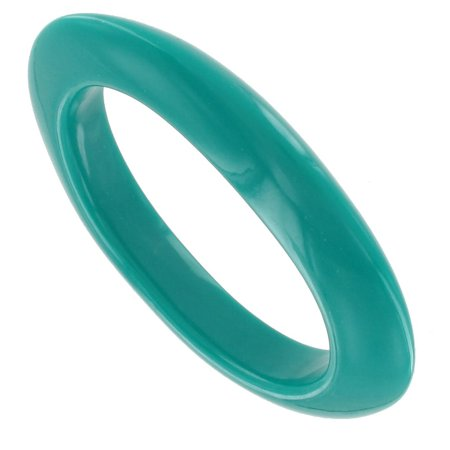 Bright Teal Green Italy Lucite Oval Bangle Bracelet