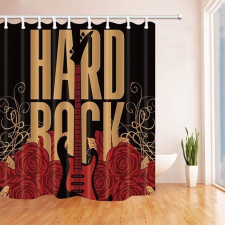 WOPOP Hard Rock Decor Vector Guitar in Red Rose for Music Lover Black Polyester Fabric Bathroom Shower Curtain 66x72 inches (Red And Black Guitar)