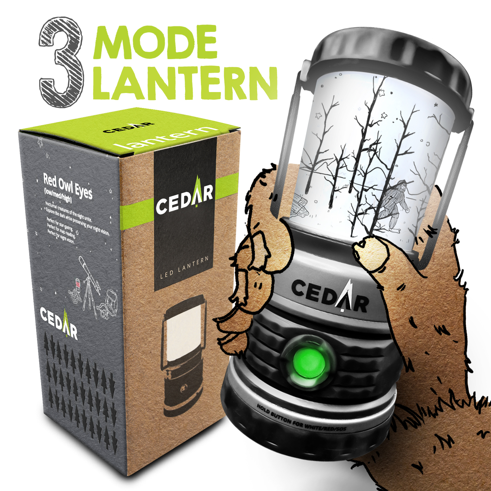 CEDAR 3-Mode LED Camping Lantern - White Red Light SOS Signal - 30-Day Low Power Mode - Super Bright 300 Lumens - Water Resistant - Aluminum Carabiner - Backpacking - Hiking - Emergencies