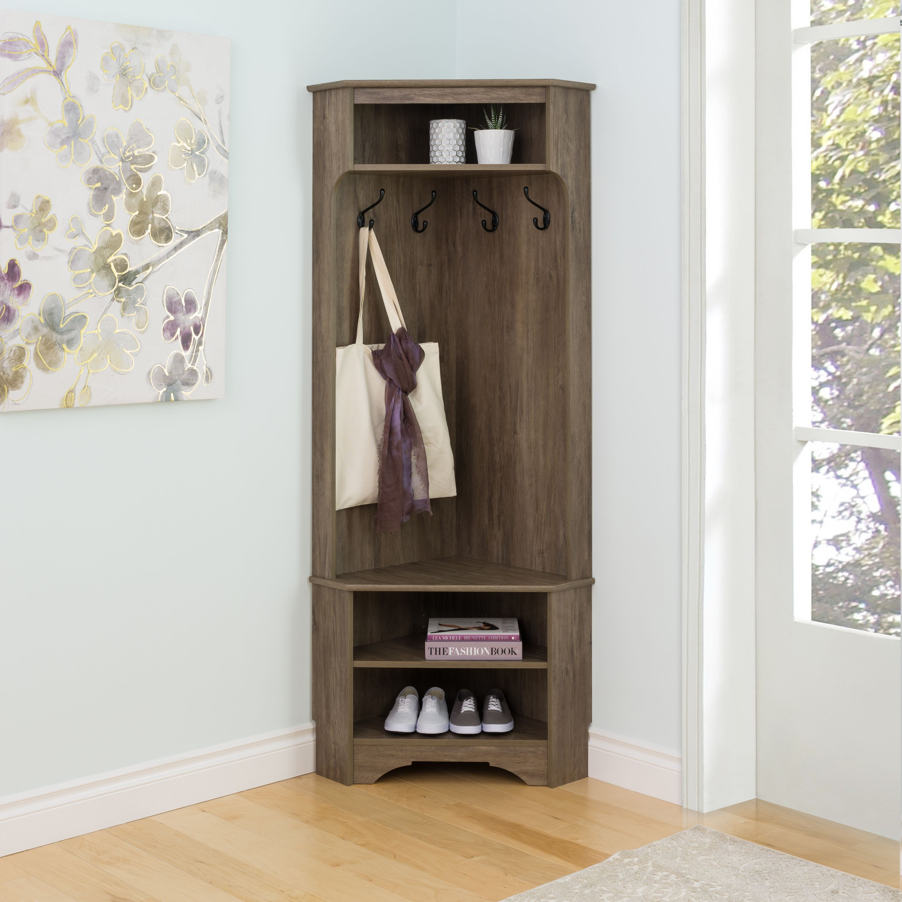 Prepac DSCC-0606-1 Corner Hall Tree with Storage, Drifted Gray