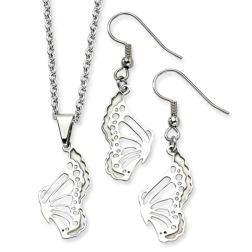 "Stainless Steel Butterfly Wire Earrings & 20"" Pendant Charm Set Jewelry Gift Box"