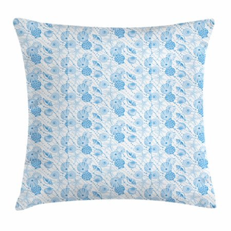 Accents Blue Seashells (Pearls Throw Pillow Cushion Cover, Seashells Diagonal Pattern Nautical Elements Marine Inspired Animals of the Ocean, Decorative Square Accent Pillow Case, 16 X 16 Inches, Blue White, by Ambesonne)