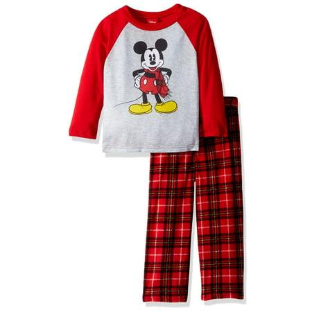 Disney Toddler Boys' 2-Piece Pajama Set, Mickey Mouse Plaid, Plaid Red/Plaid Red, Size: 2T](Mickey Mouse 1st Birthday Outfit Boy)