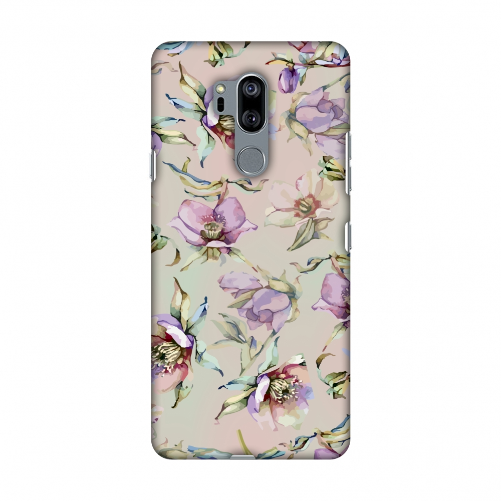 LG G7 Case, LG G7 ThinQ Case, Slim Fit Handcrafted Designer Printed Snap on Hard Shell Case Back Cover - Watercolour Poppy- Lavender And Pink