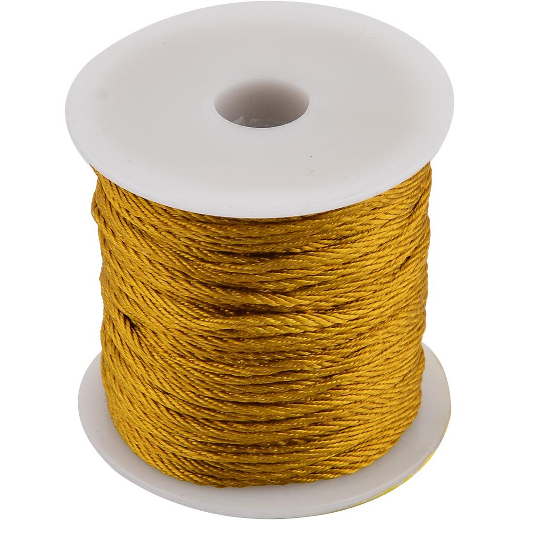 Nylon Handicraft DIY Chinese Knot Bracelet Cord String Olive Yellow 55 Yards