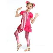 Little Girls Raspberry Stripe Designer Miranda Tunic Legging Set 3