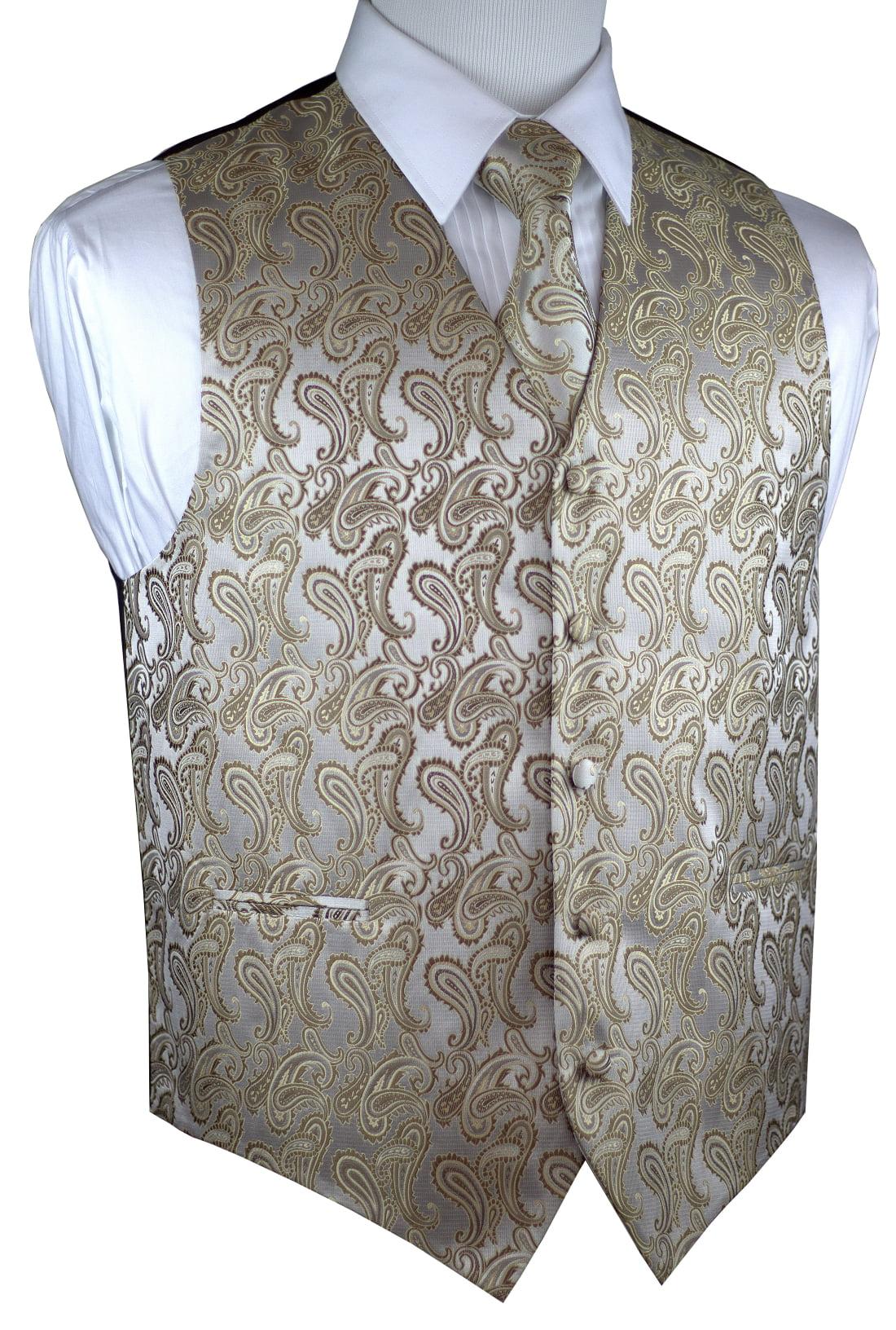 Italian Design, Men's Tuxedo Vest, Tie & Hankie Set - Dark Champagne Paisley