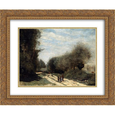 Camille Corot 2x Matted 24x20 Gold Ornate Framed Art Print 'Crecy en Brie Road in the Country'