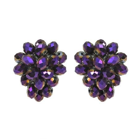Royal Forest Purple Crystal Grape Clip On Earrings - Grape Bunch Earrings