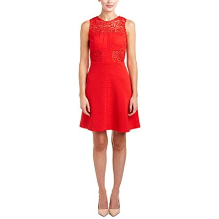 Julia Jordan Lace Inset Ottoman Fit & Flare Dress (Red, 12AV/MD/RG)