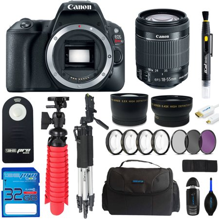 Canon EOS Rebel 200D/SL2 DSLR Camera (Black) + Canon 18-55mm STM Lens + Pixi Advanced Bundle Kit