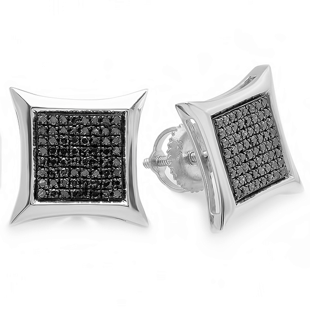 0.38 Carat (ctw) Black Round Diamond Micro Pave Setting Kite Shape Stud Earrings