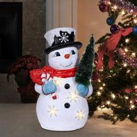 Alpine Corporation Tree Grabbing Snowman with LED Lights