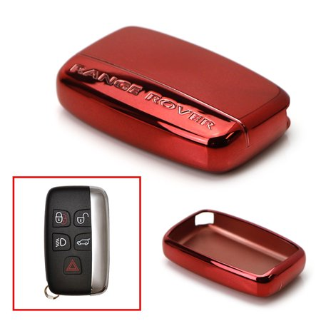 iJDMTOY Chrome Finish Red TPU Key Fob Protective Cover Case For 2010-2016 Land Rover 5-Button Key Fit Ranger Rover Sport, Range Rover, LR4, Evoque,