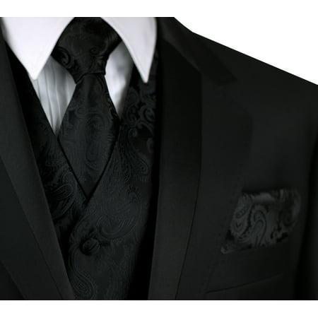 Italian Design, Men's Formal Tuxedo Vest, Tie & Hankie Set for Prom, Wedding, Cruise in Black Paisley](Lloyd Tuxedo)