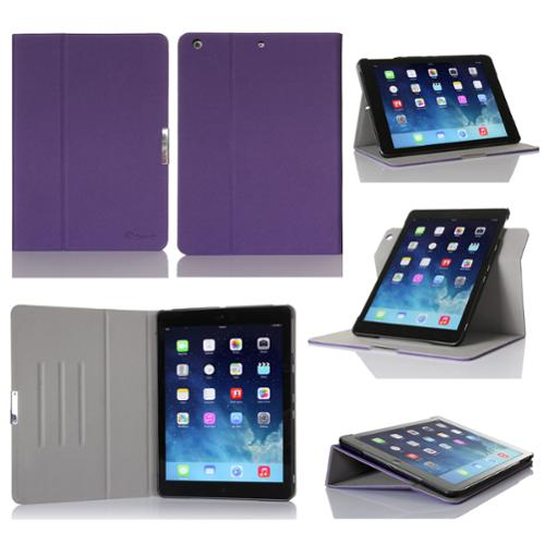 GearIt Apple iPad Air Case - 360 SPINNER Folio Rotating Smart Cover Stand for iPad Air - Twill Purple
