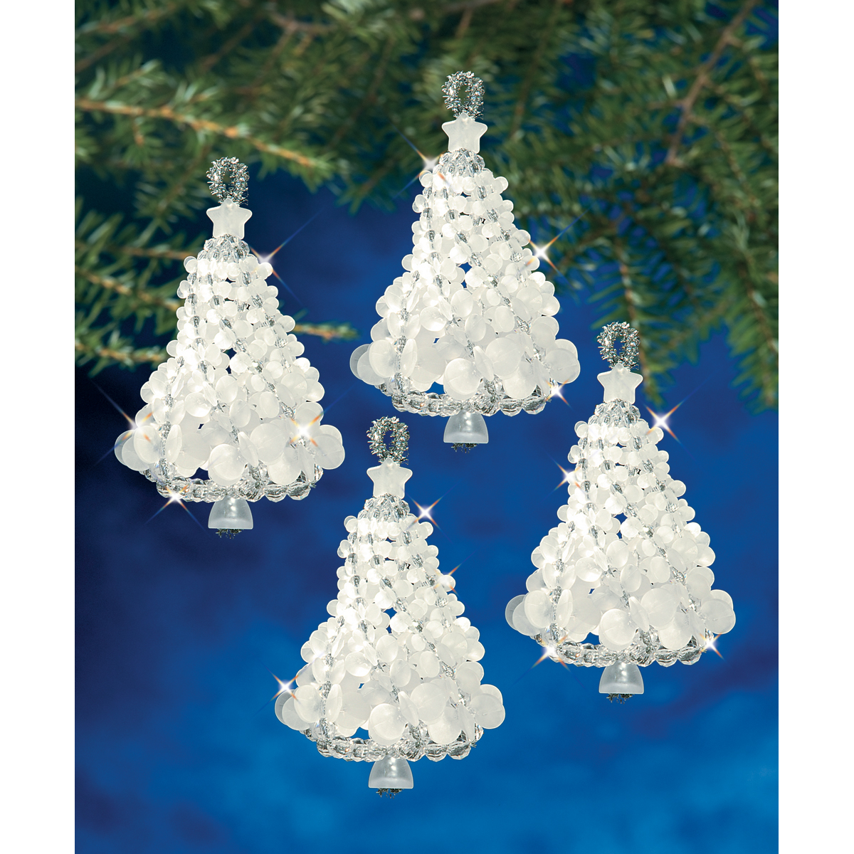 "Holiday Beaded Ornament Kit-Frosted Tree Twists 3.5"" Makes 4"